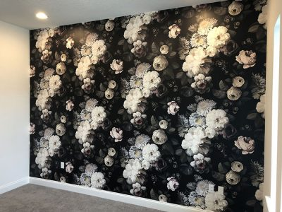 Black and white floral mural
