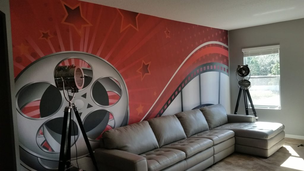 A movie reel wallpaper mural